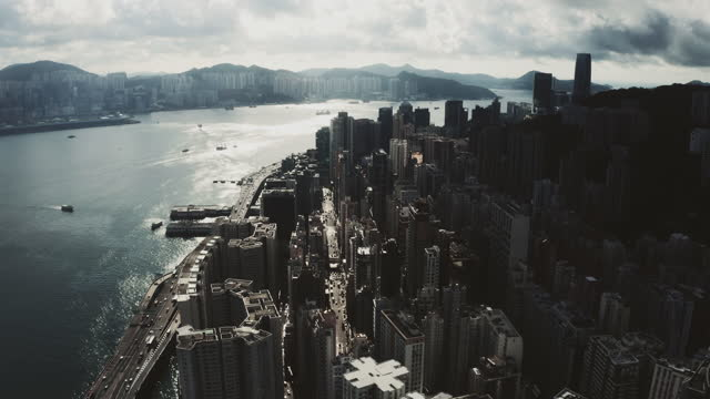drone view of hong kong city - china east asia stock videos & royalty-free footage