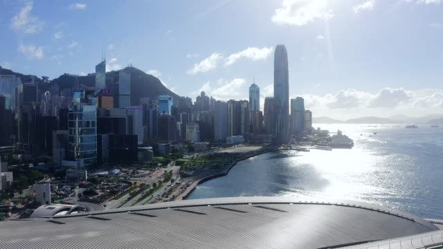 drone view of hong kong victoria harbor from air - victoria harbour hong kong stock videos & royalty-free footage
