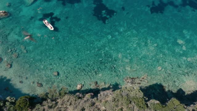 drone view of kepi i qefalit cliff lagoon - albania stock videos & royalty-free footage