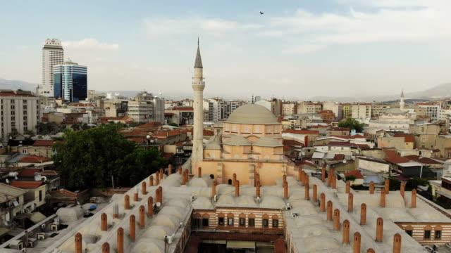 drone view of kizlaragasi han at kemeralti, izmir - izmir stock videos & royalty-free footage