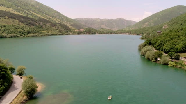a drone view of lake scanno in scanno italy on june 9 2019 located in the wild abruzzo region of central italy scanno is a rural heaven cnn has... - cnn stock videos & royalty-free footage