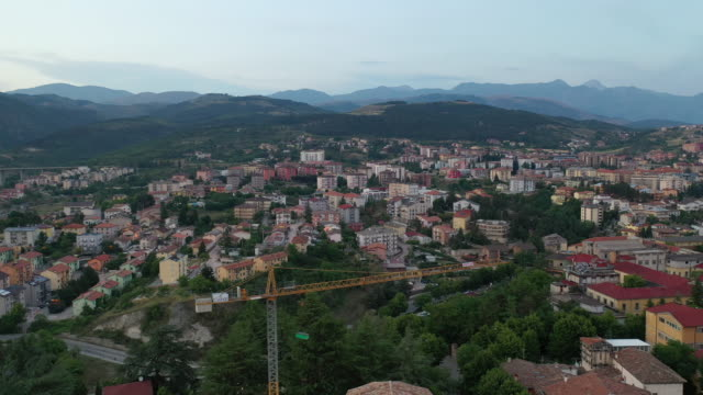 a drone view of l'aquila on july 3 2019 an earthquake of 58 on the richter magnitude scale hit l'aquila and surrounding villages on april 6 2009 with... - aquila video stock e b–roll