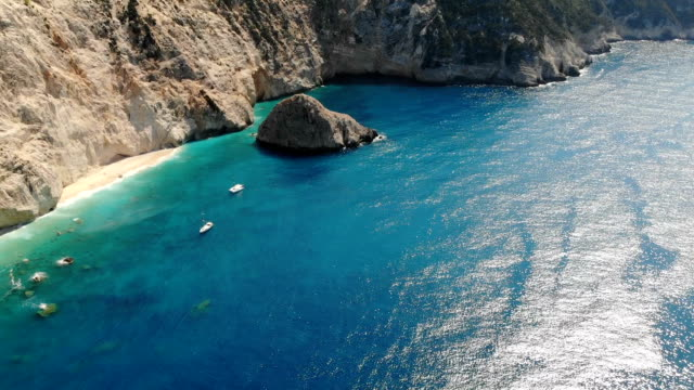 drone view of lefkada, greece - greek islands stock videos and b-roll footage