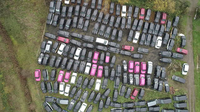 drone view of london taxis stored in epping forest amid covid-19 lockdown. black cabs stored in epping forest field after coronavirus lockdown forces... - taxi stock videos & royalty-free footage