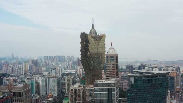 drone view of macau city - macao stock videos & royalty-free footage