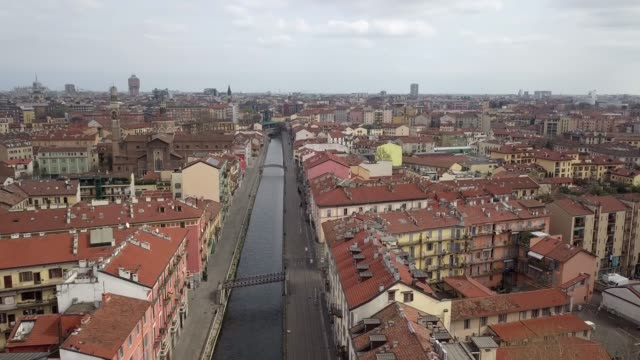 drone view of milan, italy, on march 22, 2020 during the emergency of coronavirus. europe has become the epicenter of the covid-19 outbreak, with... - milan stock videos & royalty-free footage