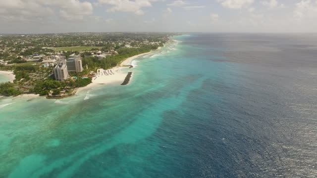 drone view of needham's point and carlisle bay in barbados (rotation) - seascape stock videos & royalty-free footage