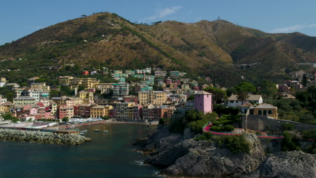 drone view of nervi in genova - liguria stock videos & royalty-free footage