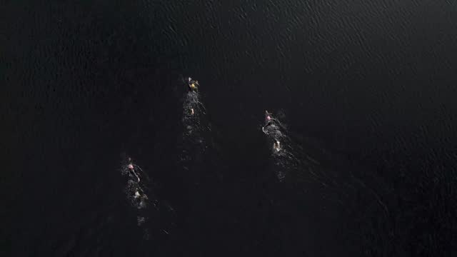 drone view of open water swimmers swimming in a scottish loch - swimming stock videos & royalty-free footage