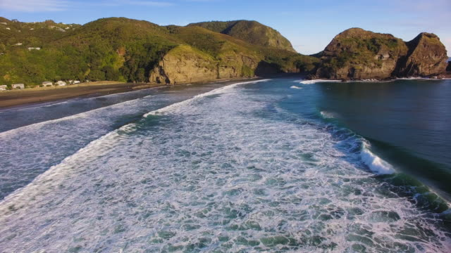 Drone view of Piha Beach, Auckland, New Zealand.
