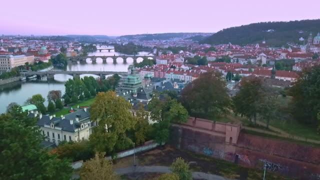 drone view of prague - prag stock-videos und b-roll-filmmaterial