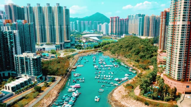 drone view of residential building in the tseung kwan o. hong kong - bay of water stock videos & royalty-free footage