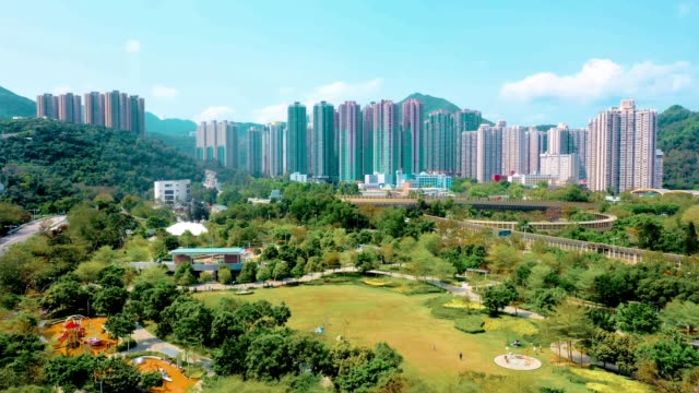 drone view of residential building in the tseung kwan o. hong kong - large stock videos & royalty-free footage