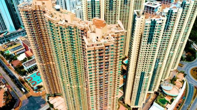 ツンクワンo.香港の住宅のドローンビュー - 大きい点の映像素材/bロール