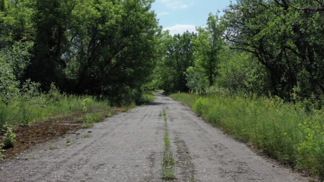 stockvideo's en b-roll-footage met drone view of road in kryva hora, on june 17, 2019. the chernobyl disaster was a catastrophic nuclear accident that occurred on 26 april 1986 at the... - kernramp van tsjernobyl