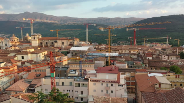 a drone view of scalps in l'aquila italy on july 3 2019 an earthquake of 58 on the richter magnitude scale hit l'aquila and surrounding villages on... - aquila video stock e b–roll