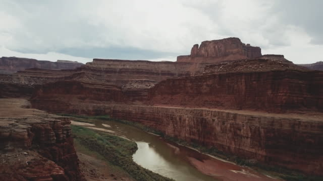 drone view of shafer trail in canyon near moab - moab utah stock videos & royalty-free footage