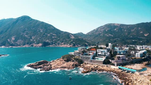 drohnenansicht von shek o, hong kong island - insel hong kong island stock-videos und b-roll-filmmaterial