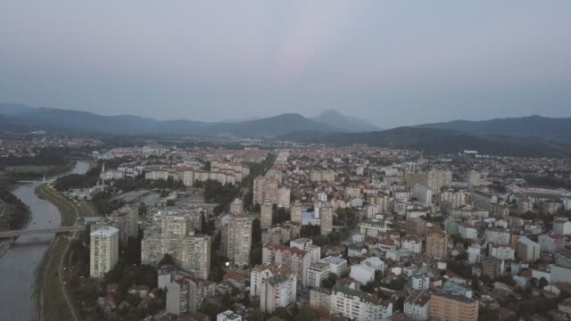 drone view of small city in serbia - serbia stock videos & royalty-free footage