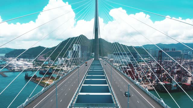 drone view of stonecutters bridge and the tsing sha highway - direction stock videos & royalty-free footage