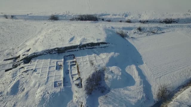 drone view of tell yunatsite, near pazardzhik in southern bulgaria, some 100 km from the capital sofia, tuesday, 26 january, 2016. it is one of the... - human arm stock videos & royalty-free footage