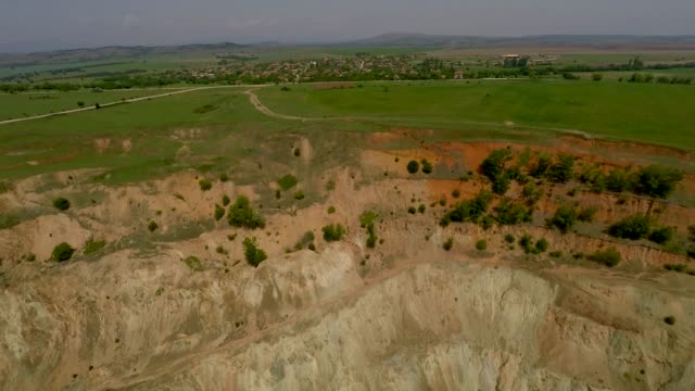 A drone view of the abandoned copper mine located almost in the village of Tsar Asen at an elevation of about 300 m above sea levelel some 100 kms...