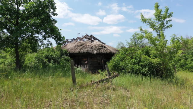 stockvideo's en b-roll-footage met drone view of the abandoned village of starosillya, near chernobyl, on june 17, 2019. the chernobyl disaster was a catastrophic nuclear accident that... - kernramp van tsjernobyl