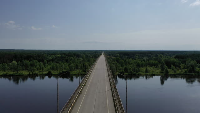 A drone view of the Bridge over Pripyat in Pripyat on June 17 2019 The Chernobyl disaster was a catastrophic nuclear accident that occurred on 26...
