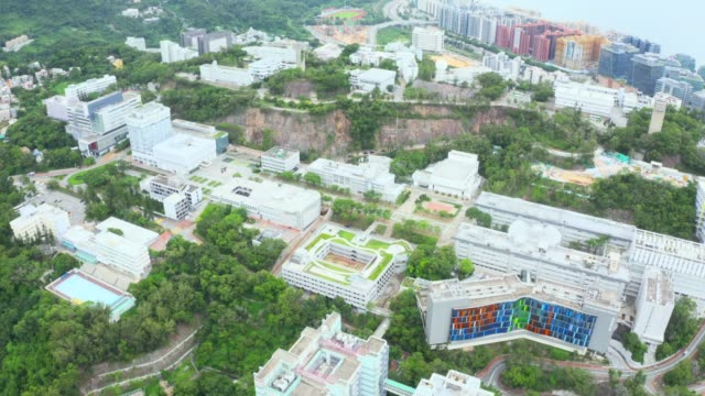 drone view of the chinese university of hong kong university / cuhk - a forma di blocco video stock e b–roll
