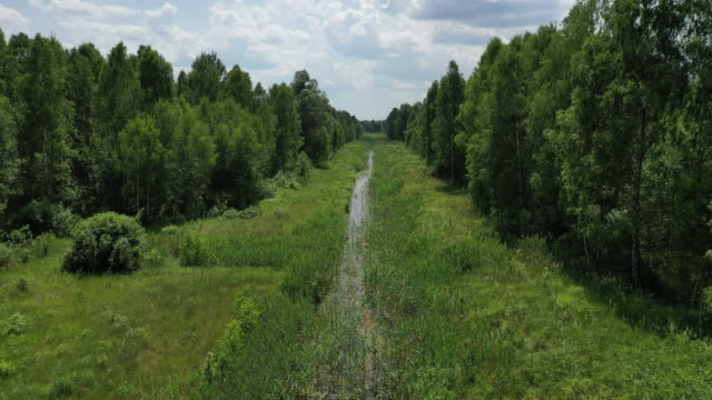 A drone view of the Cooling Channel in the abandoned village of Krasne near Chernobyl on June 17 2019 The Chernobyl disaster was a catastrophic...