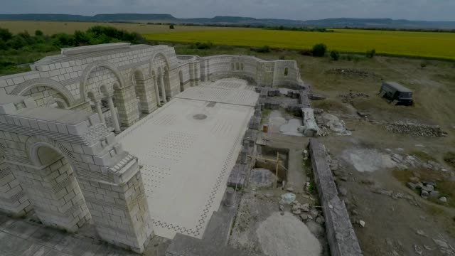 drone view of the great basilica of pliska which has been described as the mother of all bulgarian churches will be reconstructed and restored the... - arte dell'antichità video stock e b–roll