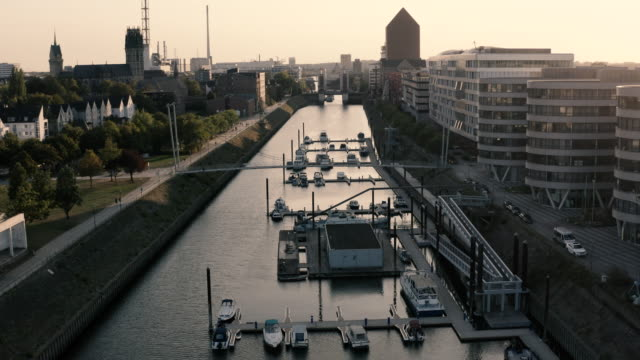 drone view of the harbour in duisburg, germany - mayor stock videos & royalty-free footage