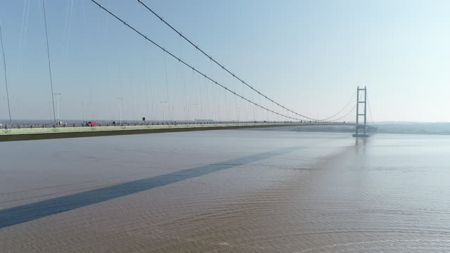 drone view of the humber bridge - hull stock videos & royalty-free footage