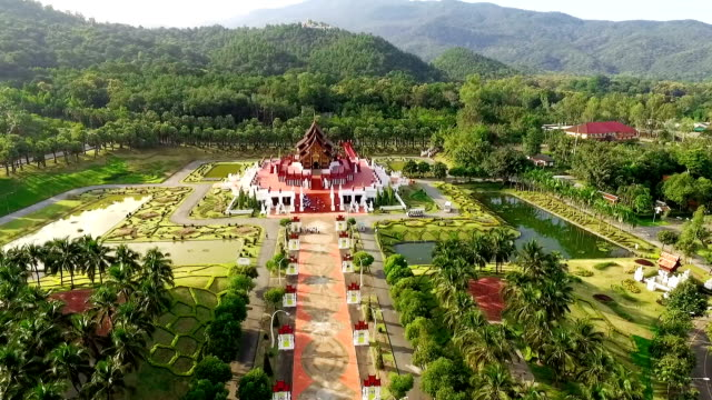 drone view of the royal ratchaphruek park in chiang mai, thailand. - thailand stock videos & royalty-free footage