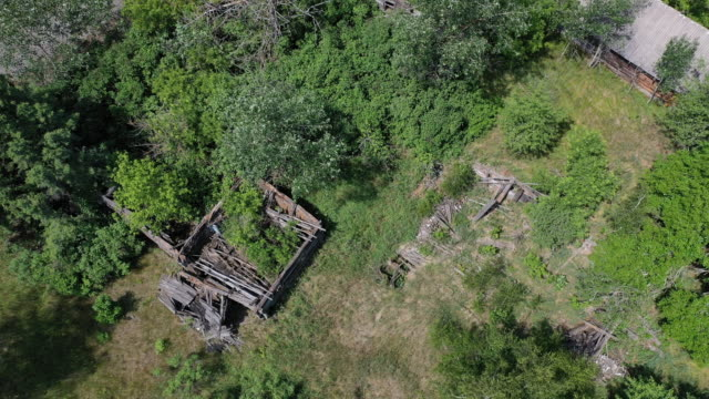 stockvideo's en b-roll-footage met a drone view of the village of kryva hora on june 17 2019 the chernobyl disaster was a catastrophic nuclear accident that occurred on 26 april 1986... - kernramp van tsjernobyl