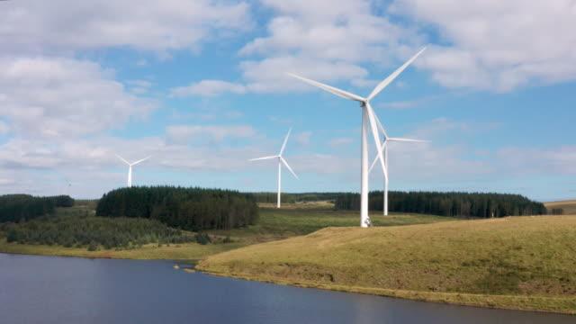 drone view of wind farm in brecon beacons - brecon beacons video stock e b–roll