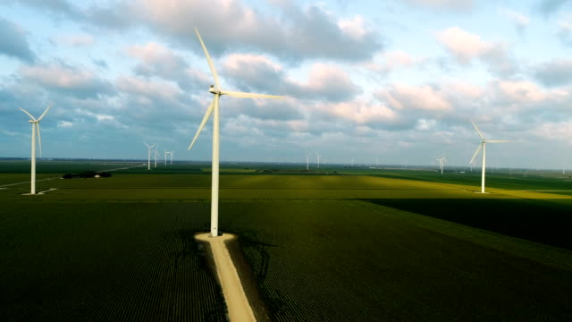 Drone view of Wind Turbine Farm in South Texas