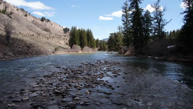 山中のワイオミング川のドローンビュー - グランドティトン国立公園点の映像素材/bロール