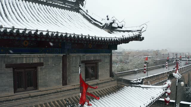 drone view of xi'an ancient city wall in snow,china. - chinese culture stock videos & royalty-free footage