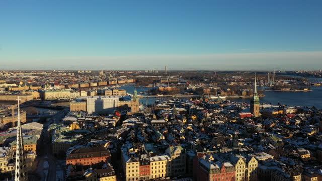 drone view over stockholm, sweden - ourbaniserat motiv bildbanksvideor och videomaterial från bakom kulisserna