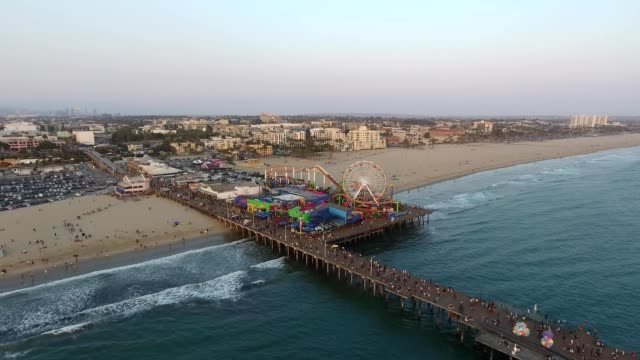 a drone view santa monica pier in california - サンタモニカ点の映像素材/bロール
