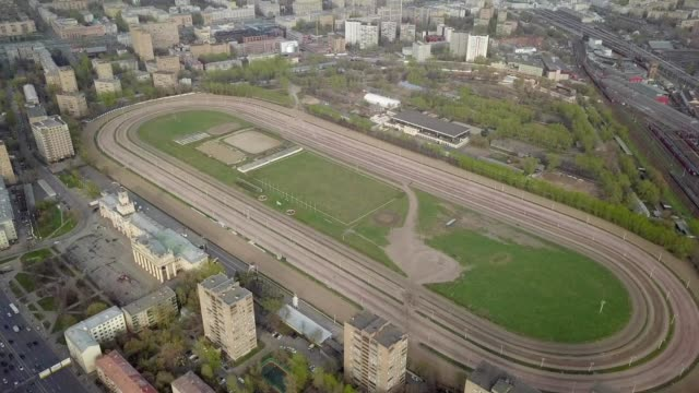 a drone view the hippodrome of moscow russia - amphitheater stock videos & royalty-free footage