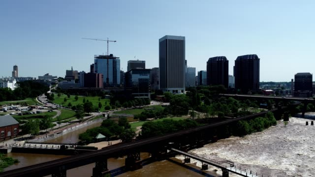 A drone view the James River and Richmond Virginia skyline