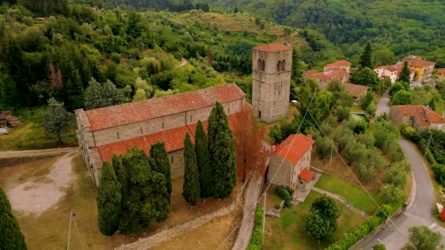 A Drone views a small church in Tuscany Italy