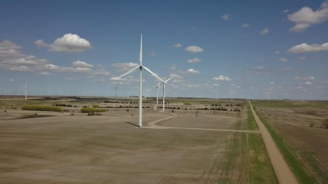 A drone views a windmill farm in Wilton North Dakota