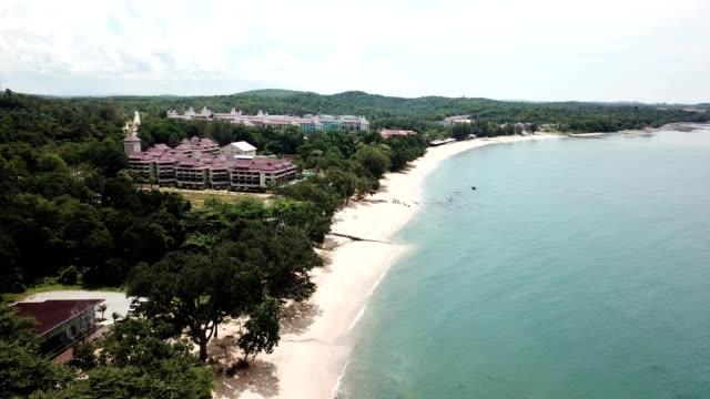 a drone views desaru beach in kota tinggi johor malaysia - johor stock videos & royalty-free footage