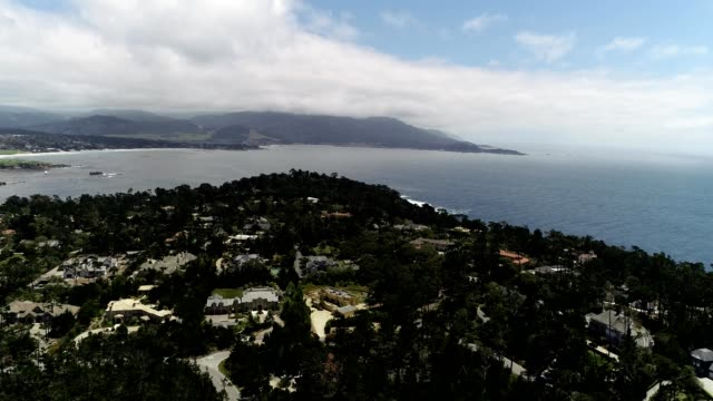 a drone views monterey county in carmel by the sea california - carmel california stock videos & royalty-free footage