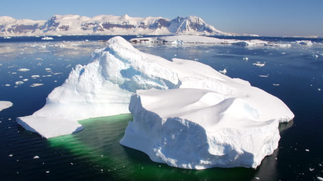drone views of a large iceberg in errera channel, antarctica - antarctica iceberg stock videos & royalty-free footage