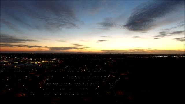 a drone views oxnard california at dusk - dronebase stock videos and b-roll footage