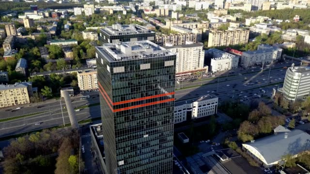 A drone views twin skyscrapers of Mail.ru in Moscow Russia